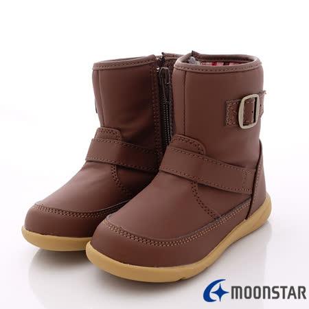 日本Carrot機能童鞋-時尚短靴機能款-C21293咖-(16cm-19cm)