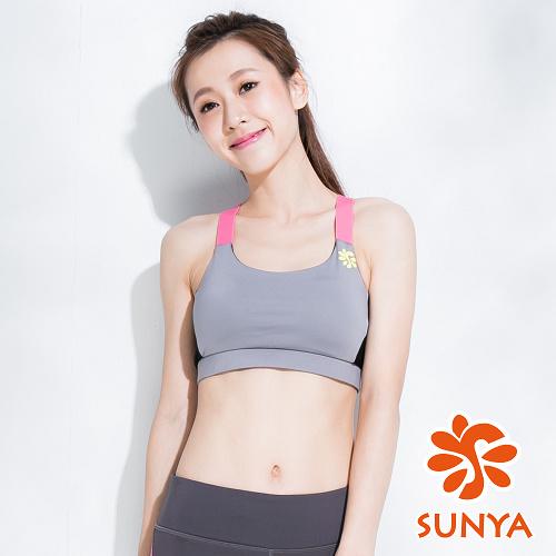 SUNYA 簡約素短版運動背心-灰(S~XL)