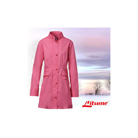 【意都美 Litume】女款 單件式輕量化防水長版風衣外套_桃紅 E8732