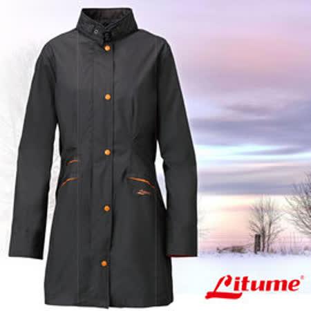 【意都美 Litume】女款 單件式輕量化防水長版風衣外套_墨綠 E8732