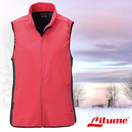 【意都美 Litume】女新款 Polartec Thermal Pro 類羊毛輕量化防風保暖背心_粉紅/綠 P9162