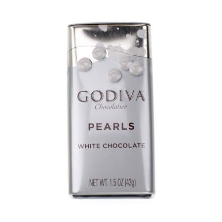 【GODIVA】珍珠鐵盒巧克力豆-白巧克力豆