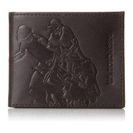 US Polo 2015男時尚運動員浮雕深褐色薄型皮夾【預購】