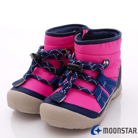 日本Carrot機能童鞋-防潑綁帶造型靴款-C21354桃-(15cm-19cm)