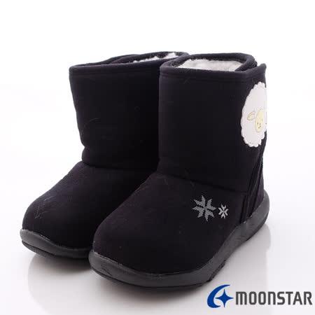 日本Carrot機能童鞋-小綿羊徽章雪靴款(寶寶段)-NB126黑-(13cm-14.5cm)