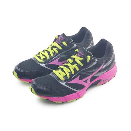 (女)MIZUNO美津濃 EMPOWER 2 慢跑鞋 黑/桃紅/黃綠-K1GL151024