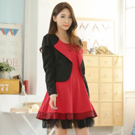 【KVOLL中大尺碼】黑色小外套+紅色背心裙二件套