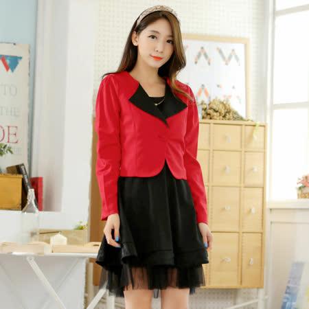 【KVOLL中大尺碼】紅色小外套+黑色背心裙二件套