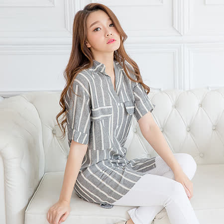 Wonderland   造型條紋襯衫