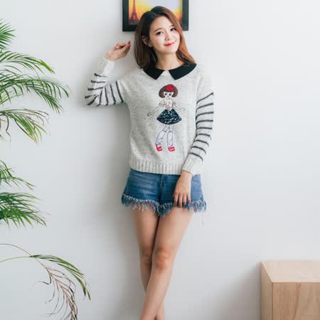 Wonderland  日系風甜美刺繡上衣(米白)