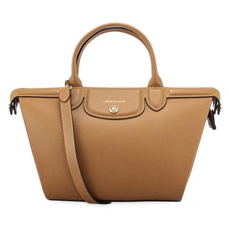 Longchamp 新款Heritage防刮皮革手提斜背二用包-駝色