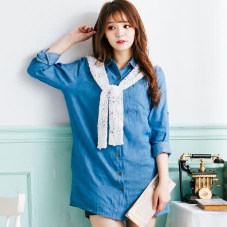Wonderland  森林系女孩牛仔丹寧洋裝(淺藍)