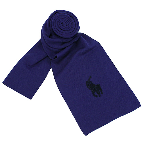 RALPH LAUREN POLO  大馬LOGO素面雙色羊毛圍巾-藍/黑色