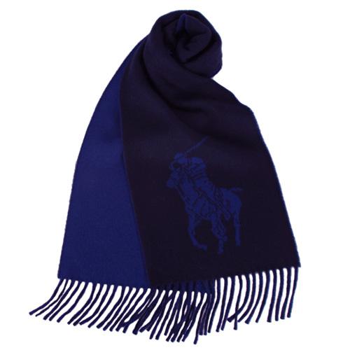 RALPH LAUREN POLO 大馬Logo雙色羊毛流蘇圍巾~深藍色