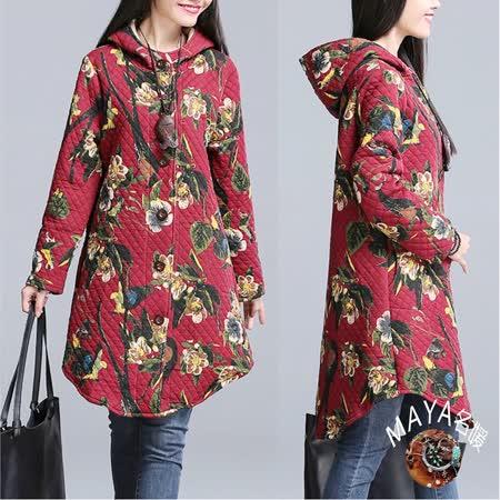 【Maya 名媛】(m~2xl)冬季車薄綿長版連帽式外套古典滿版花-紅色