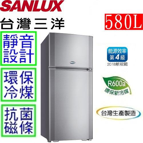 【台灣三洋 SANLUX】580L雙門電冰箱 SR-A580B
