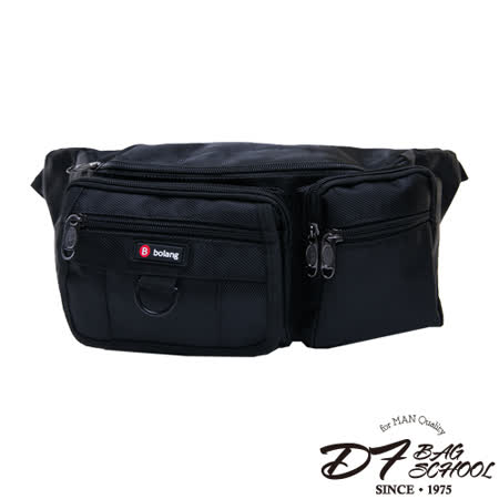 DF BAGSCHOOL - 東京潮男多層機能款休閒腰側背包-黑色