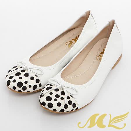 MK-臺灣製全真皮-蝴蝶結點點馬毛拼接娃娃鞋-米白
