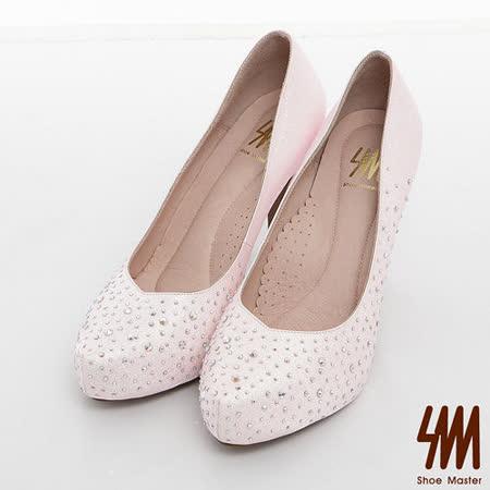 SM-臺灣製-氣質水鑽金蔥新娘晚宴鞋-粉紅