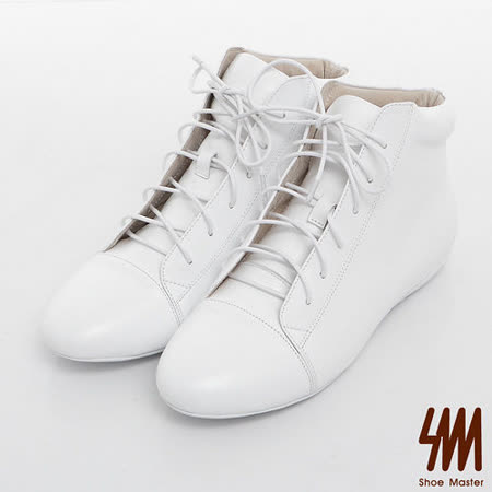 SM-臺灣製全真皮-素面百搭綁帶高筒休閒鞋-白色