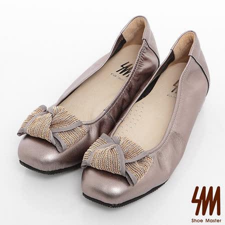 SM-臺灣製全真皮-珠鍊緞帶方頭內增高娃娃鞋-古銅咖