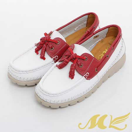 MK-臺灣製全真皮-撞色厚底帆船休閒鞋-白色