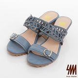 SM-臺灣製全真皮-縷空雙帶金屬釦楔型涼拖鞋-藍色