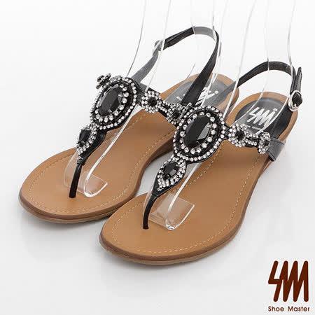 SM-臺灣製全真皮-水鑽寶石T型繞踝夾腳涼鞋-黑色