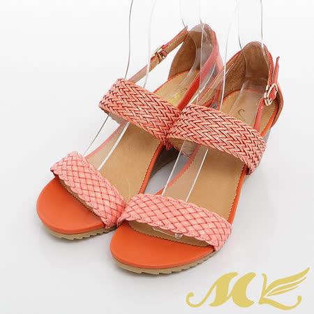 MK-百搭編織寬帶楔型涼鞋-橘色