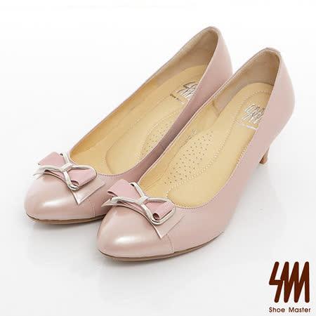 SM-臺灣製全真皮-金屬緞面蝴蝶結羊皮高跟鞋-粉紅