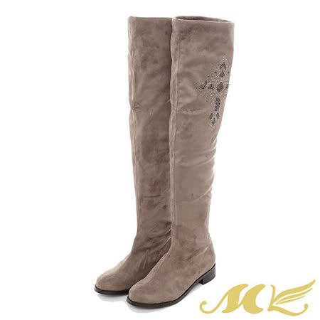 MK-水鑽十字架柔軟絨布低跟過膝長靴-淺咖啡