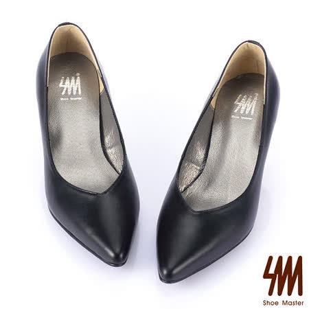 SM -MIT時尚經典百搭原色真皮尖頭中低跟鞋-黑