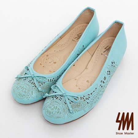 SM-臺灣製全真皮-蝴蝶結縷空素面娃娃鞋-藍色