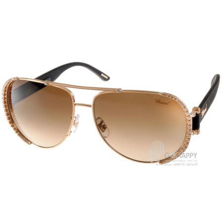【好物分享】gohappy線上購物CHOPARD太陽眼鏡 奢華鑲鑽飛官款(金-黑) #CPA66S 08FC去哪買高雄 阪急