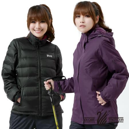 【遊遍天下】女款JIS90% 羽絨二件式多功能禦寒背心外套A086深紫