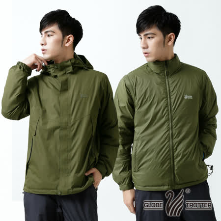 【遊遍天下】男款JIS90% 羽絨二件式多功能禦寒背心外套A082墨綠