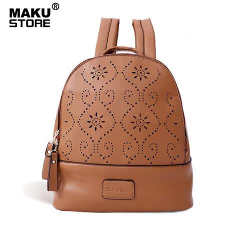 【MAKU STORE】秋新款純色小清新雙拉鍊時尚鏤空後背包-黃棕色