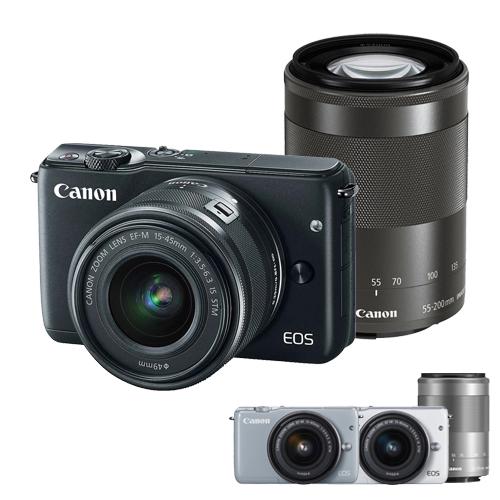 Canon EOS M10 EF-M 15-45mm + 55-200mm 雙鏡組(公司貨)-加送 32G C10卡+原廠電池+防潮箱+保護鏡X2+大吹球清潔組+拭鏡筆+相機包