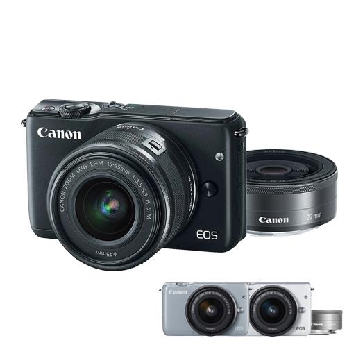 Canon EOS M10 EF-M 15-45mm + 22mm 雙鏡組(公司貨)-加送 32G C10卡+原廠電池+防潮箱+保護鏡X2+大吹球清潔組+拭鏡筆+相機包