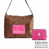 DF Queenin - 韓版旅遊小幫手大容量折疊式斜背包-桃紅