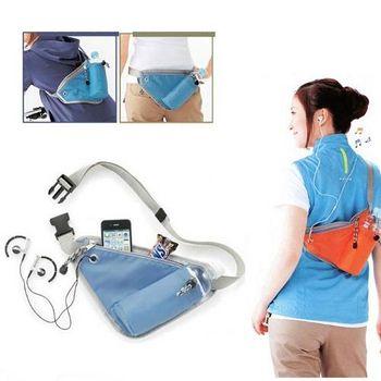 旅遊首選、旅行用品 貼身運動腰包 騎車包 跑步包 休閒包 旅行斜背包 -藍色