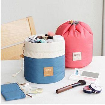 旅遊首選、旅行用品 韓風圓筒束口袋 化妝包 旅行袋 超值三件收納組 -桃紅