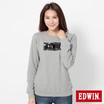 EDWIN 迷彩LOGO印花厚長袖T恤-女-麻灰色