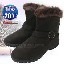 【甜美簡約】女新款 低筒專業保暖雪鞋、雪靴(附冰爪)_咖啡 SN211