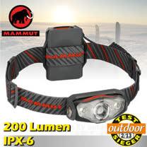 【瑞士 MAMMUT 長毛象】X-Shot 200 流明高亮度輕量防水LED頭燈_00263-0001 黑