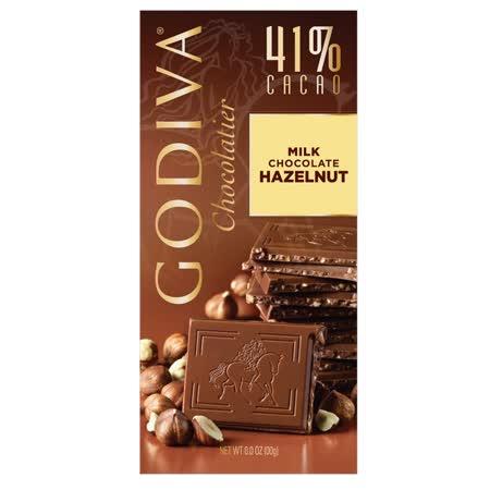 【GODIVA】頂級巧克力磚系列-41%榛果牛奶巧克力磚 100g