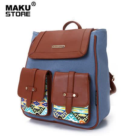 【MAKU STORE】秋新款韓版民族風  學院帆布後背包-牛仔藍色