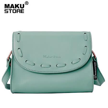 【MAKU STORE】秋冬新款單肩斜跨女士小方斜背包-灰藍