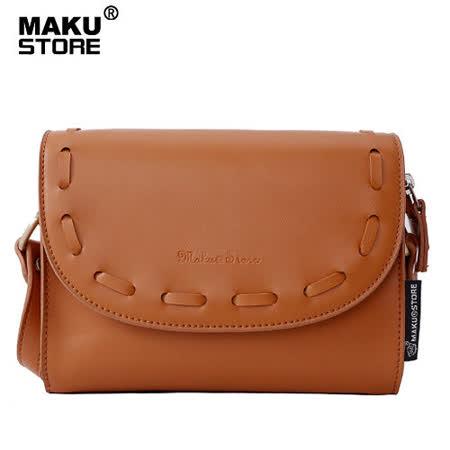 【MAKU STORE】秋冬新款單肩斜跨女士小方斜背包--咖啡