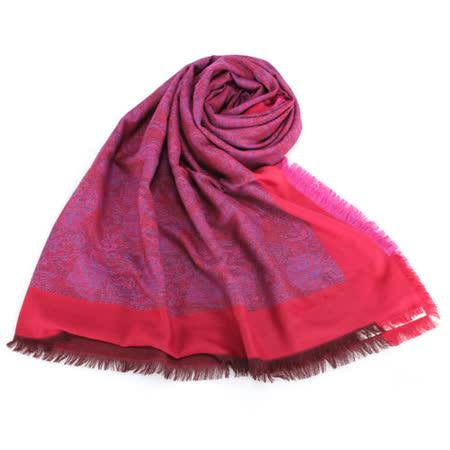 Christian Dior 圖騰撞色100%毛圍巾披肩-橘紅色